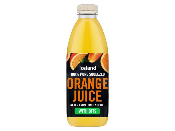 iceland 100 pure squeezed orange juice with bits never from concentrate 1l 64570