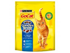 go cat crunchy tender with salmon and tuna dry cat food 325g 57488 T1