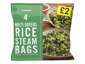 iceland 4 multi greens rice steam bags 600g 68854