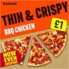 iceland thin and crispy bbq chicken pizza 350g 85683