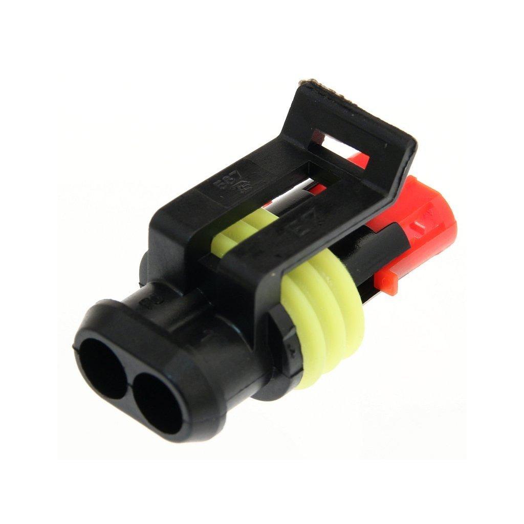 282080-1  Těsněný konektor řady AMP Superseal 1.5 pro 2x dutinka; Superseal 1.5 Series; černý