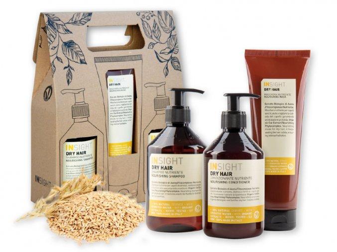 Balíček INSIGHT DRY HAIR šampon 400 ml + kondicionér 400 ml + maska 250 ml dárková sada