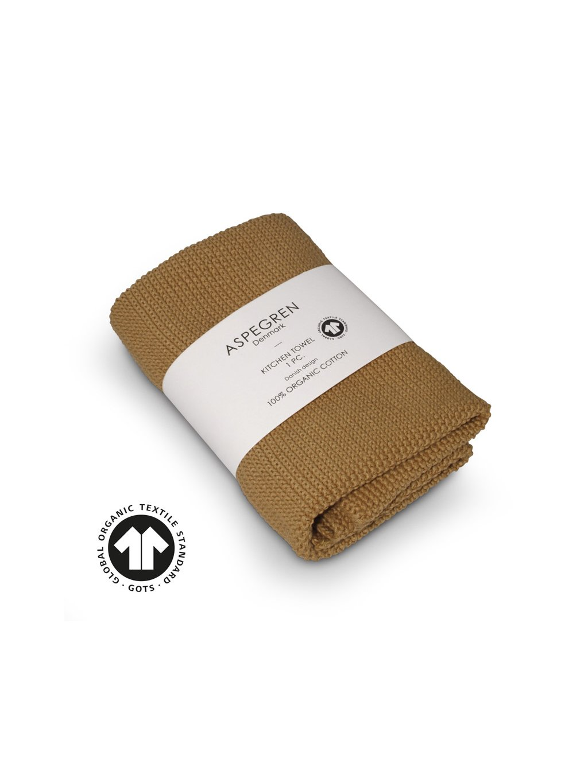 Aspegren kitchentowel knitted solid mustard 3716 web4