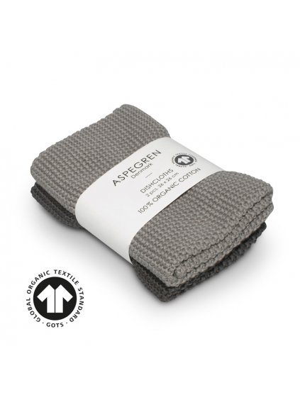 Aspegren dishcloth knitted solid gray 3242 web7