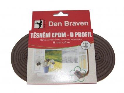 Těsnící D profil Den Braven hnědý (9 mm x 8 mm x 6 m)