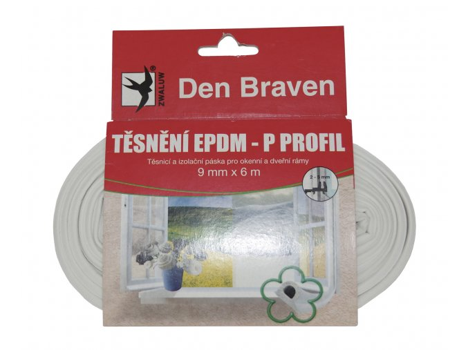 Těsnící P profil Den Braven (9 mm x 5,5 mm x 6 m)