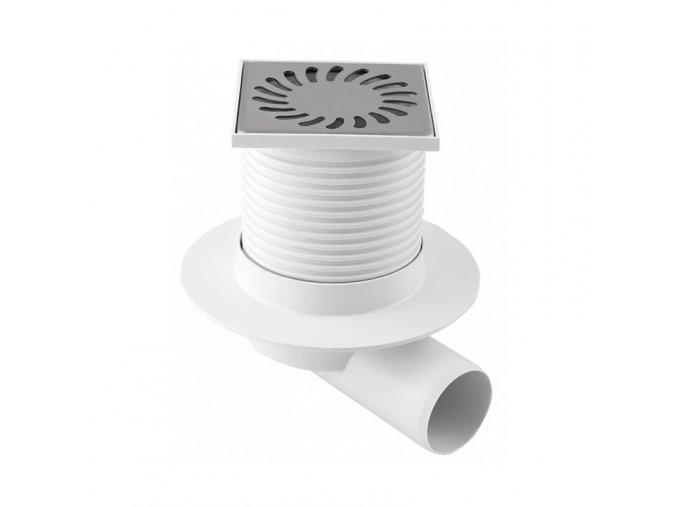 Boční podlahová vpusť Haco PVB DN 50 nerez (100x100 mm, průměr 45 mm)