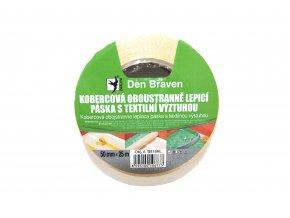 Kobercová oboustranně lepicí páska s textilní výstuhou Den Braven B818RL (50 mm x 25 m)