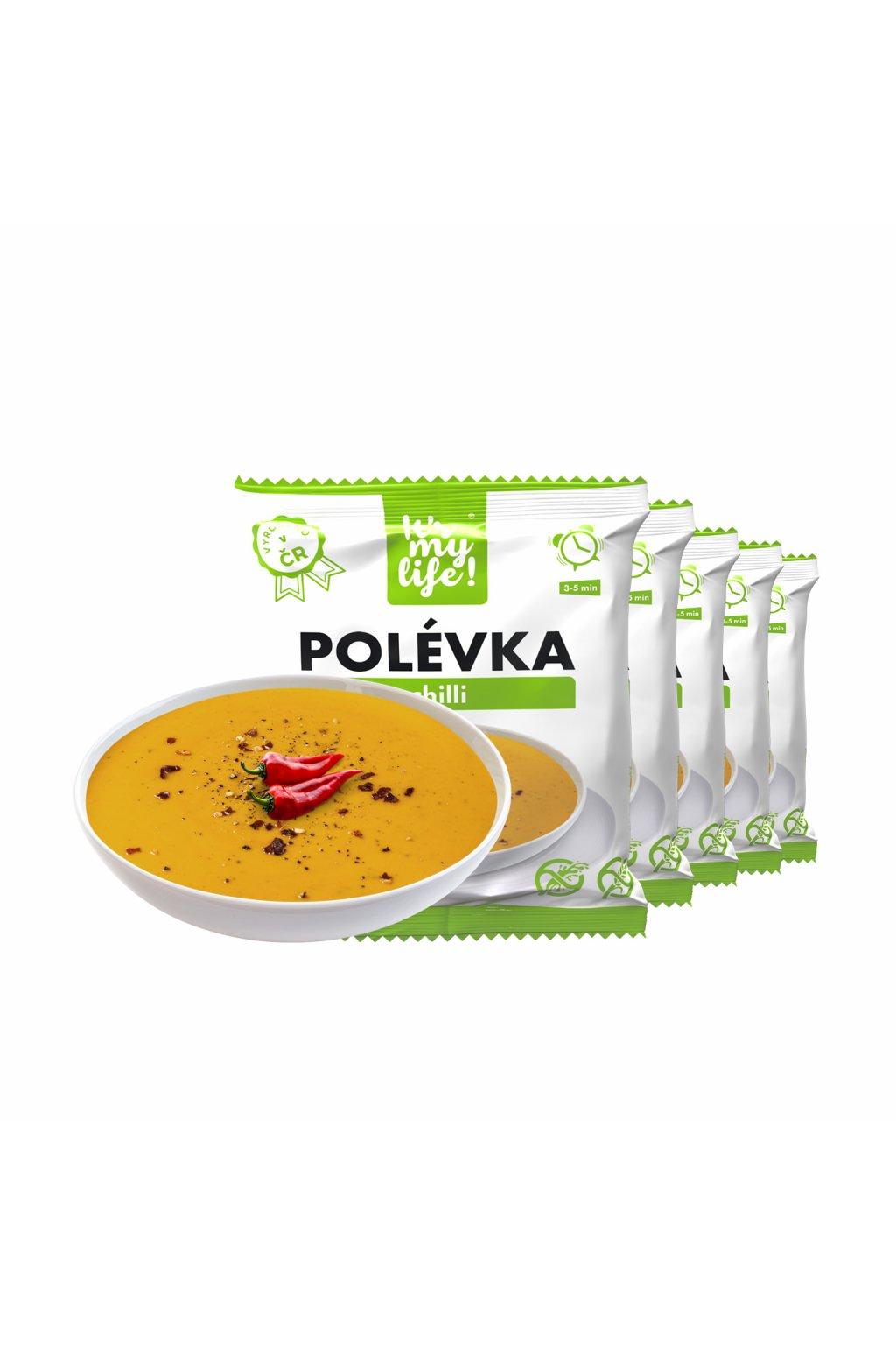 Proteínové polievky s príchuťou čili, 200g (5porcií)
