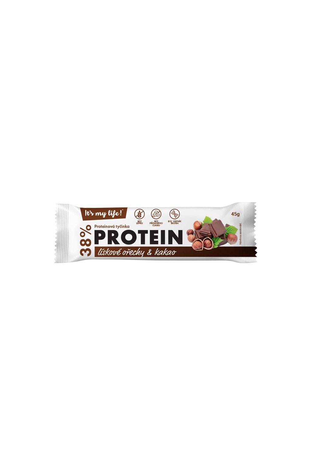Proteínová tyčinka Lieskové orechy a Kakao, 45g