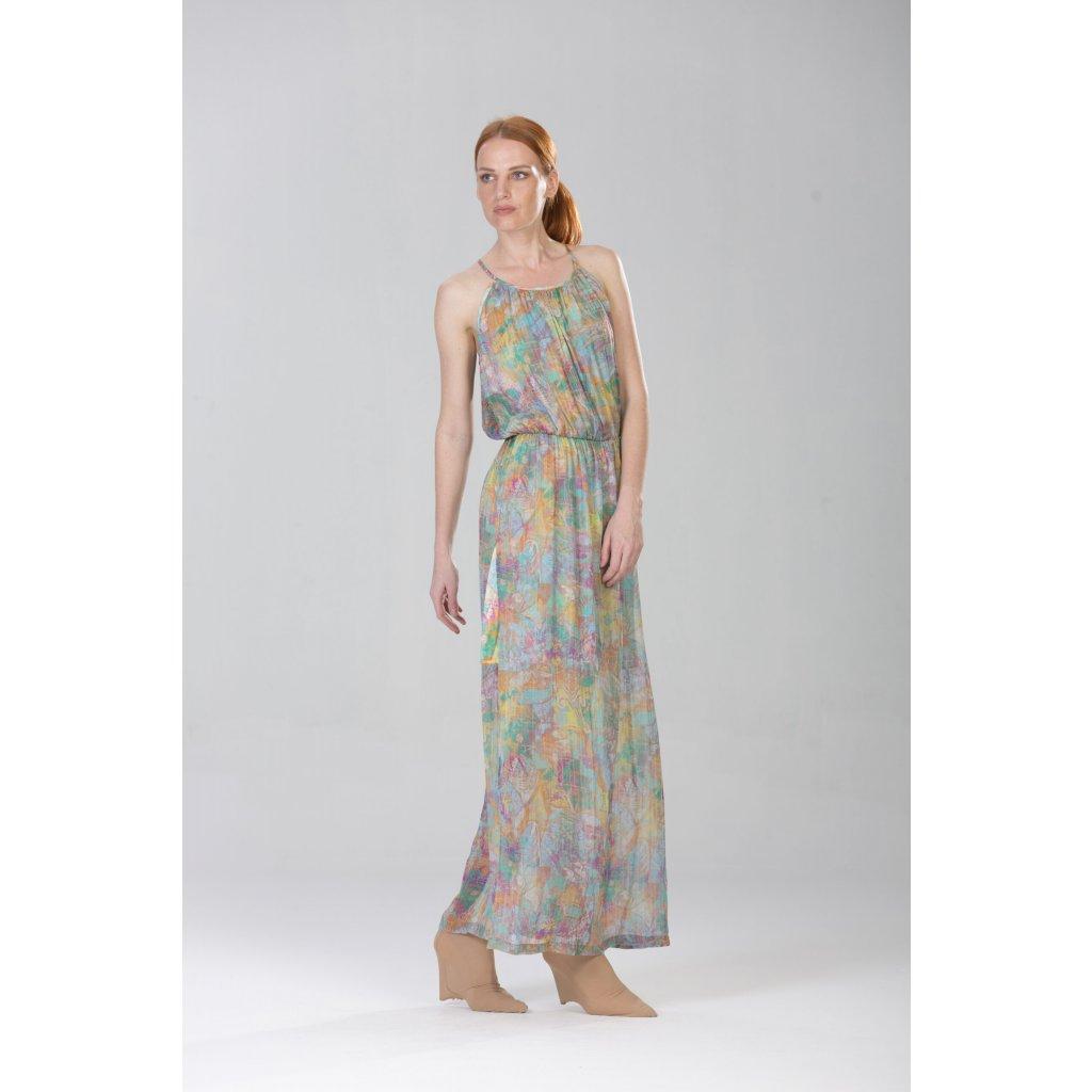 Sleeveless summer print silk maxidress TERRA