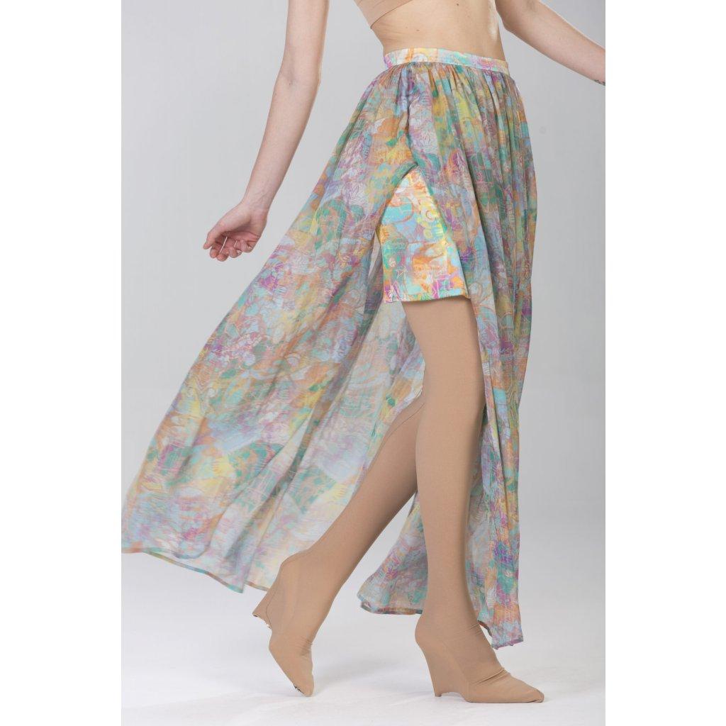 Silk flowy maxi skirt