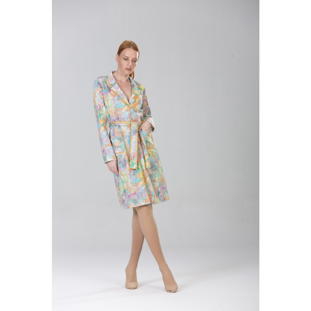 Belted overcoat in soft TERRA print