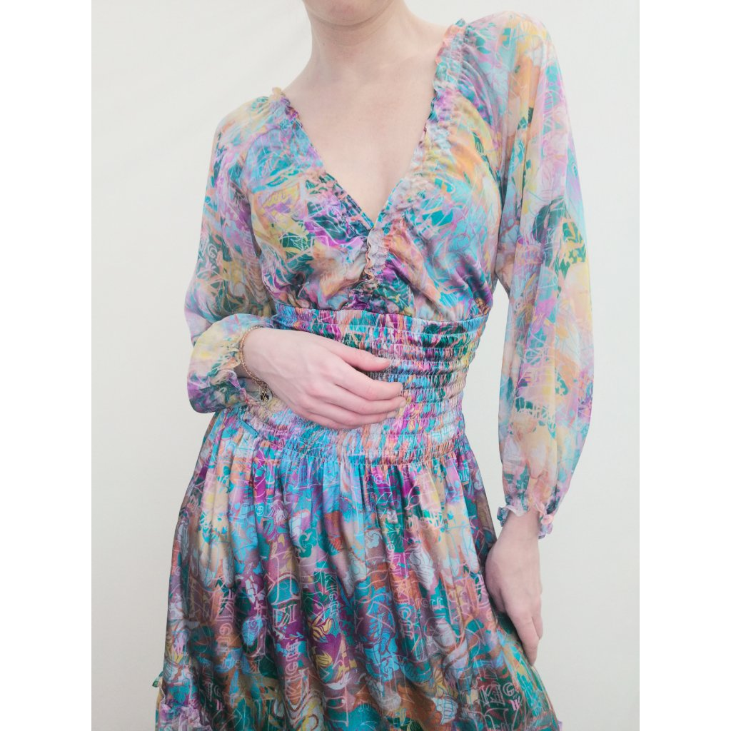 Silk maxidress with sleeve TERRA