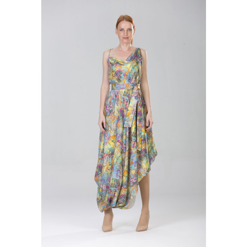 Summer maxi dress with handkerchief skirt and coordinating tie belt