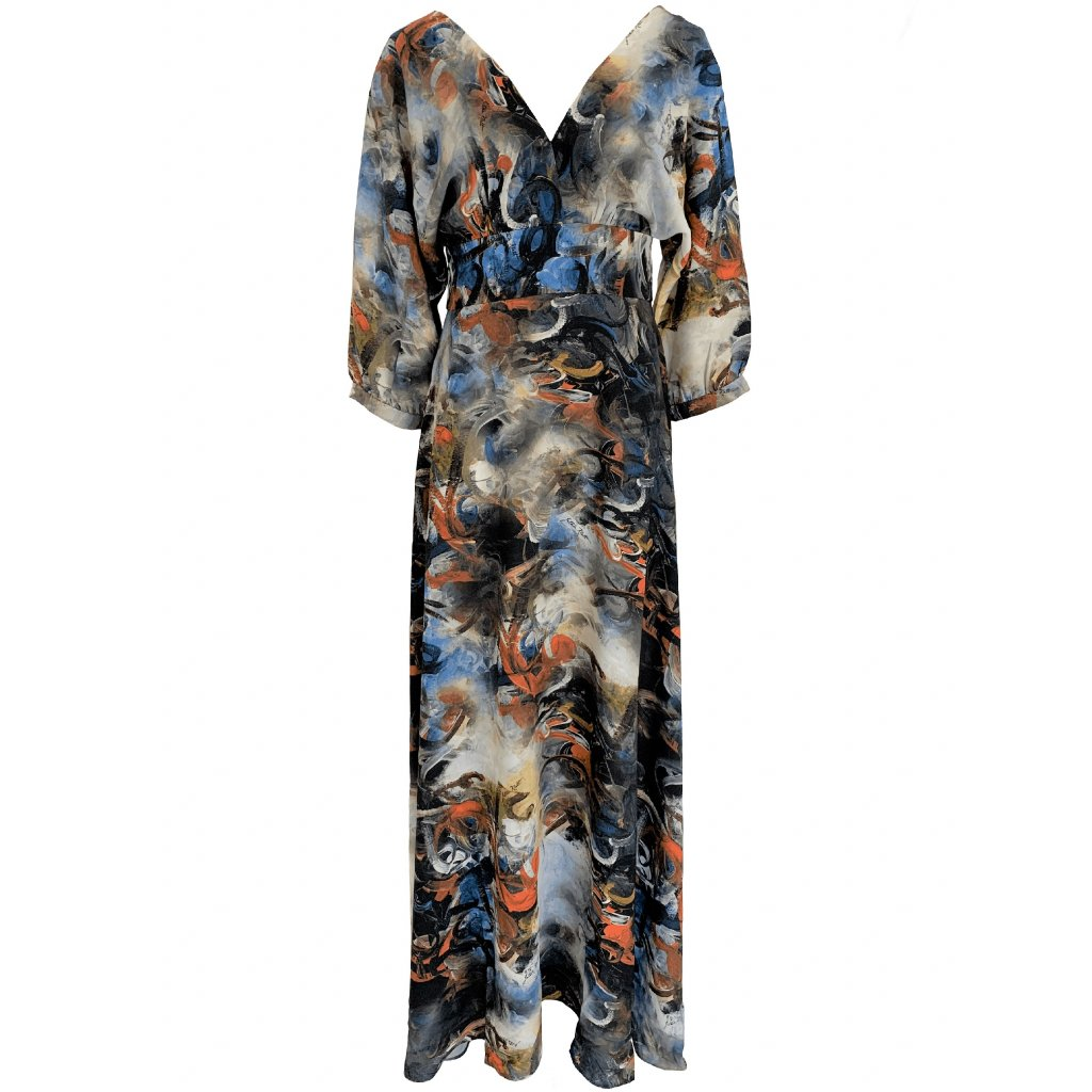 Long dress with 3/4 length sleeves in ESPIRITY print