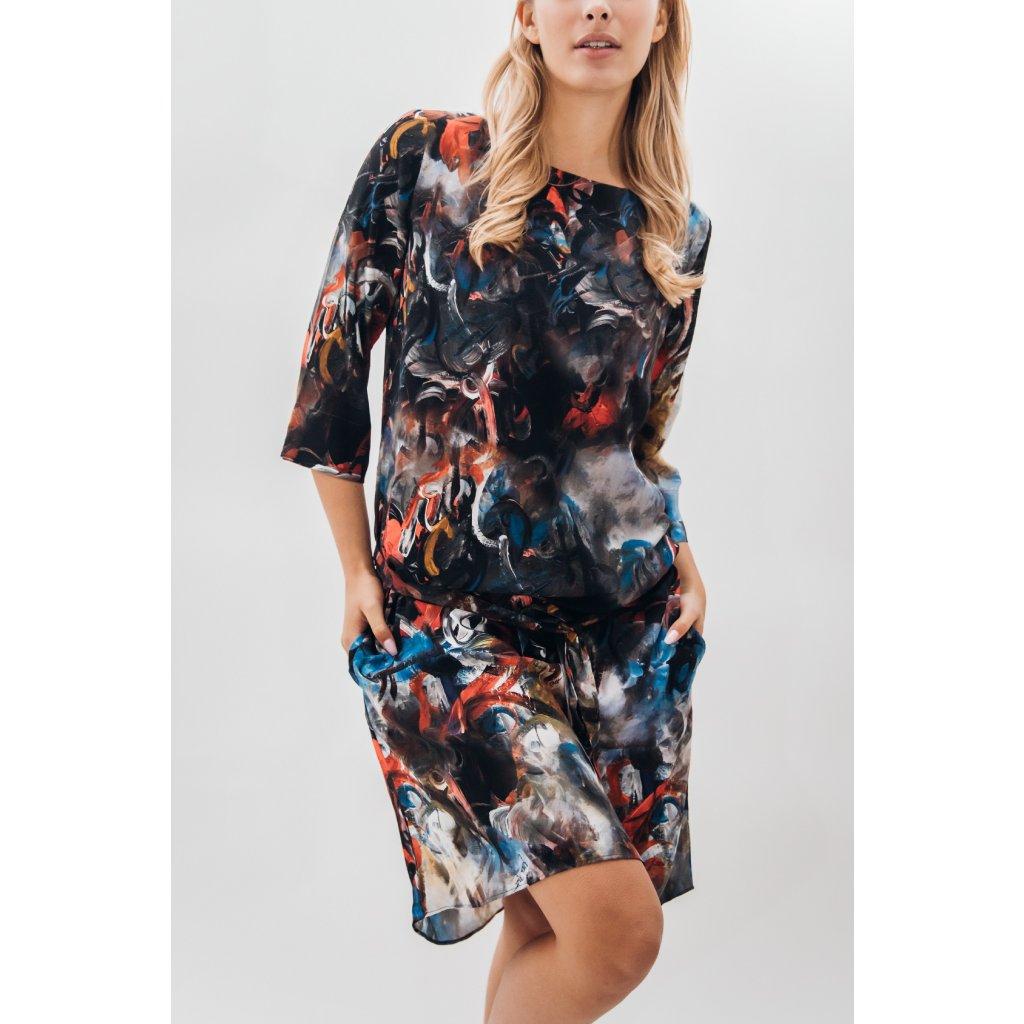 Short dress with belt in ESPIRITY print