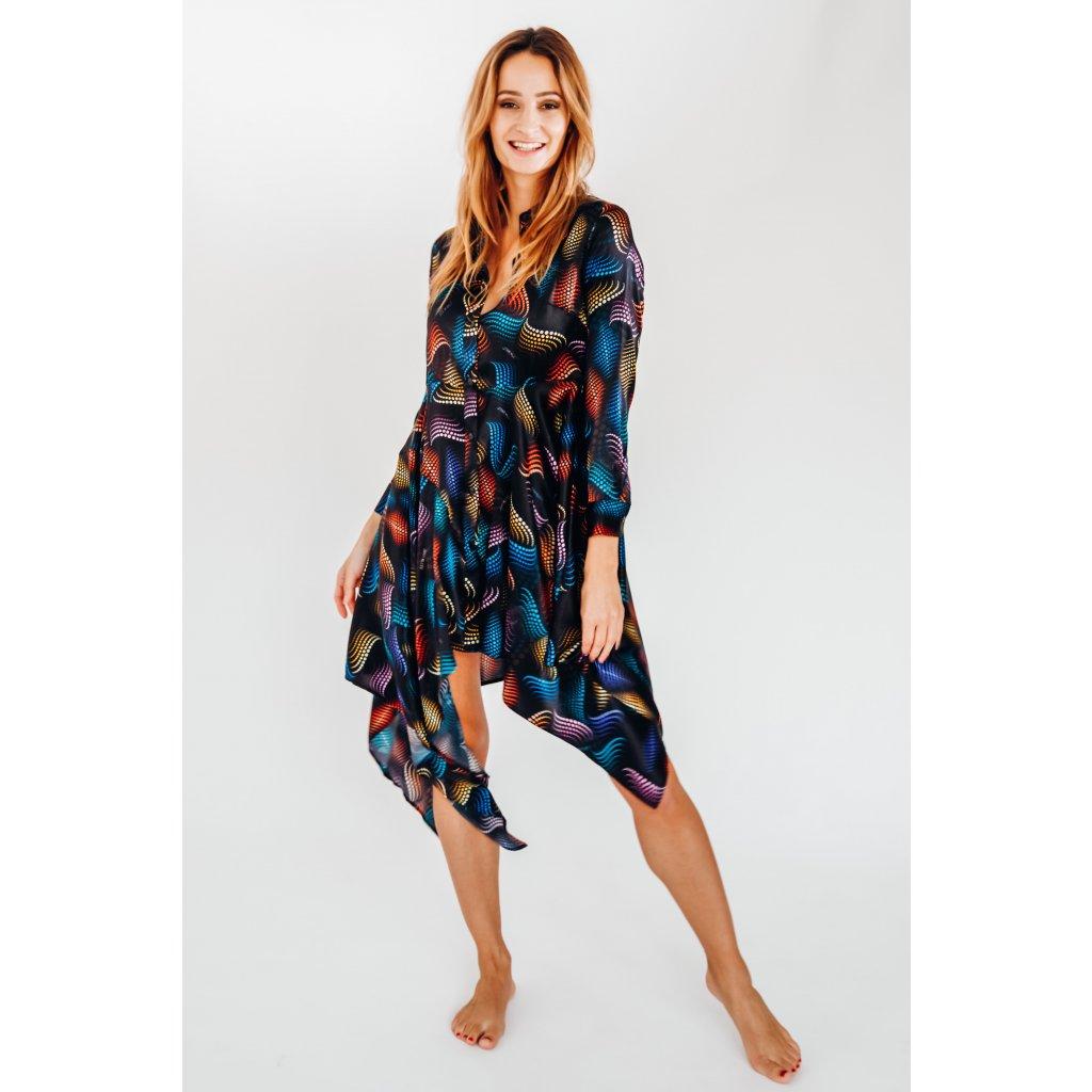 Asymmetric silk MATRIX midi length dress