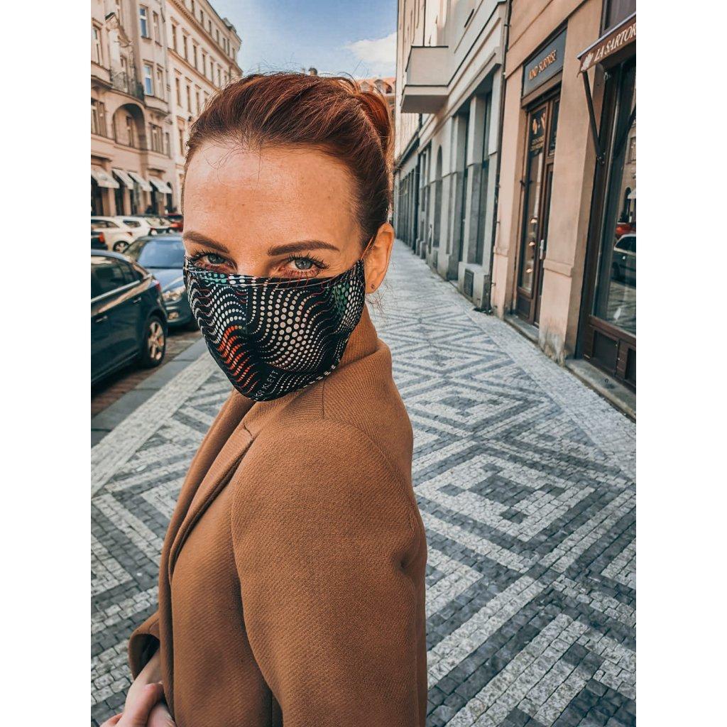 JK Klett breathable delicate silk mask Matrix – Black and white