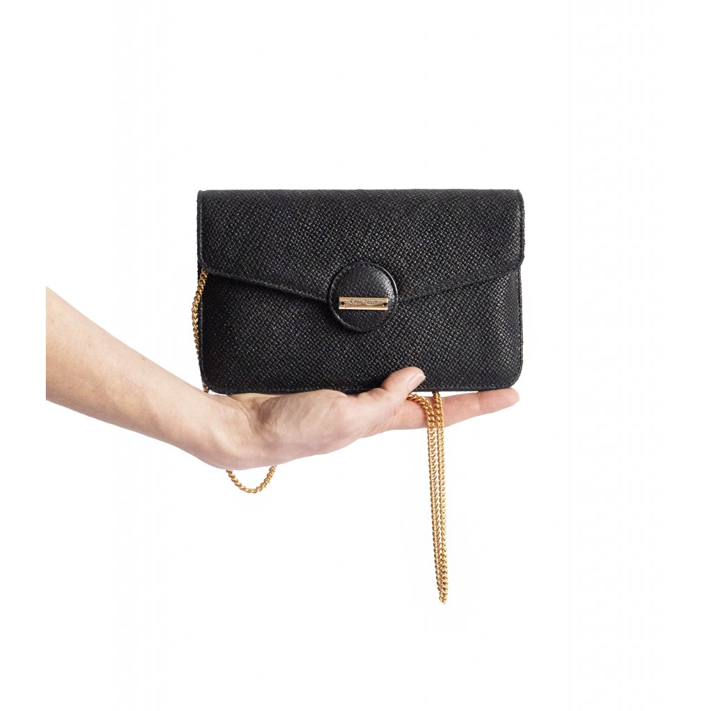 LIBERTA black leather mini shoulder bag with chain strap/ LIMITED EDITION