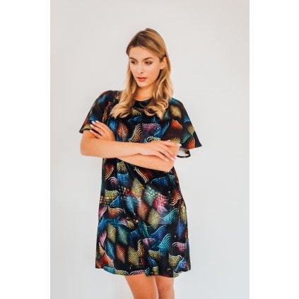 Boucle-cotton / velvet MATRIX midi dress