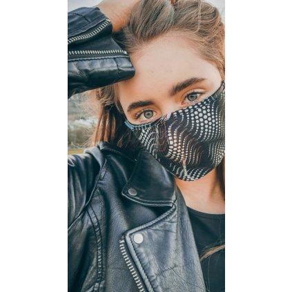 JK Klett Designer cotton face mask matrix – Black and white