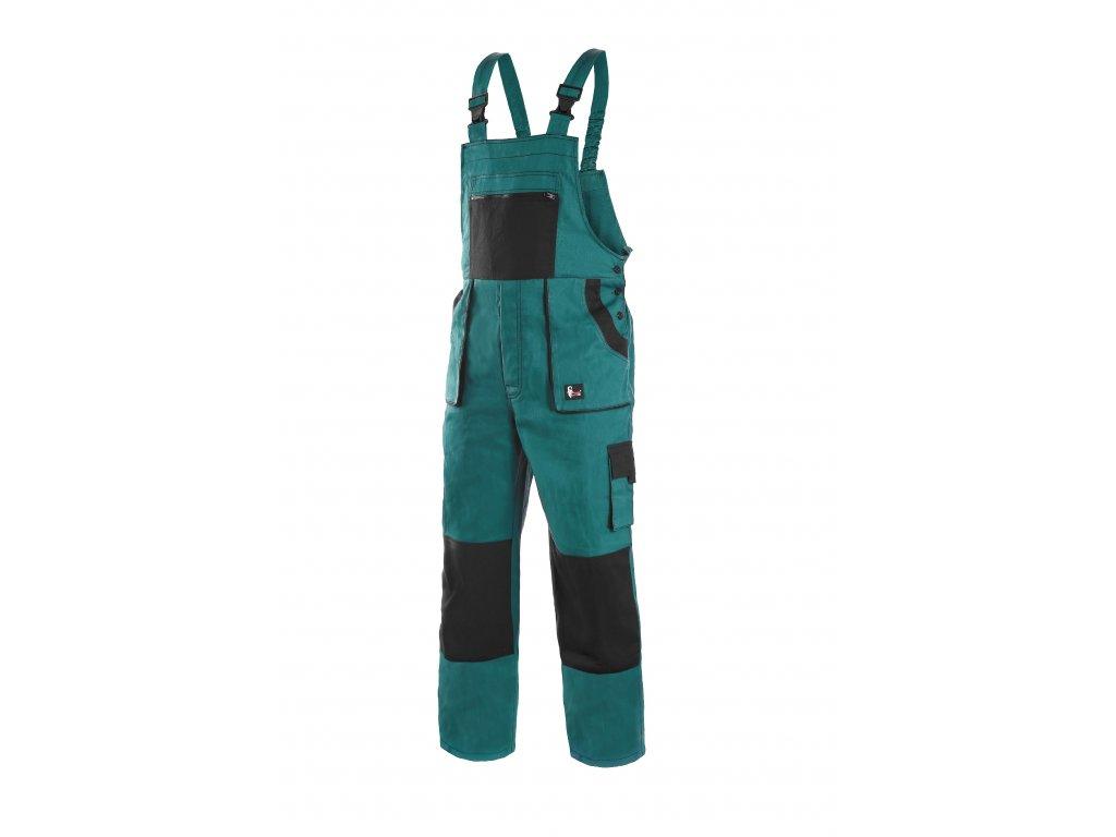 Montérkové kalhoty s laclem EMIL LUX na výšku 194 cm zeleno-černé