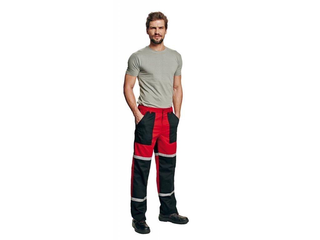 Montérkové kalhoty do pasu TAYRA červeno-černá