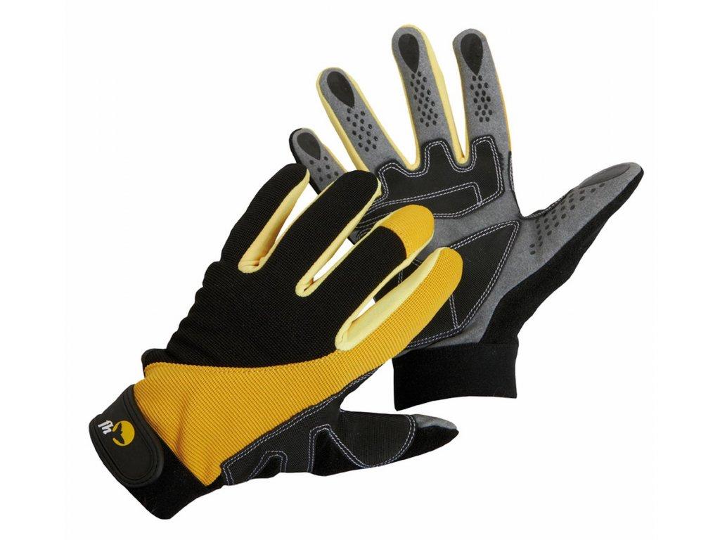 Pracovní rukavice kombinované CORAX černá-žlutá