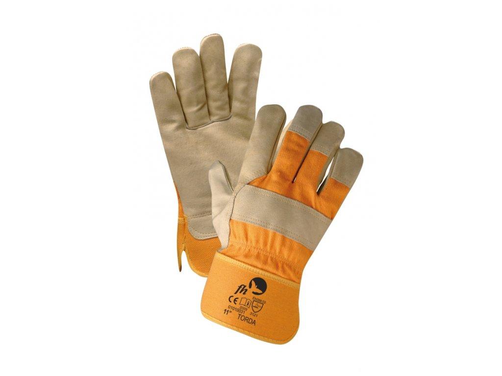 Pracovní rukavice kožené kombinované TORDA žlutá