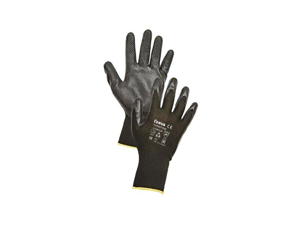 Pracovní rukavice pletené bezešvé polyesterové máčené v nitrilu TURNSTONE černá