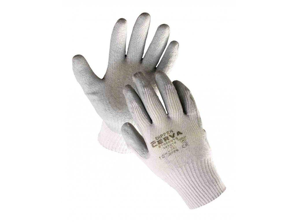 Pracovní rukavice pletené bezešvé nylonové polomáčené v latexu DIPPER šedá