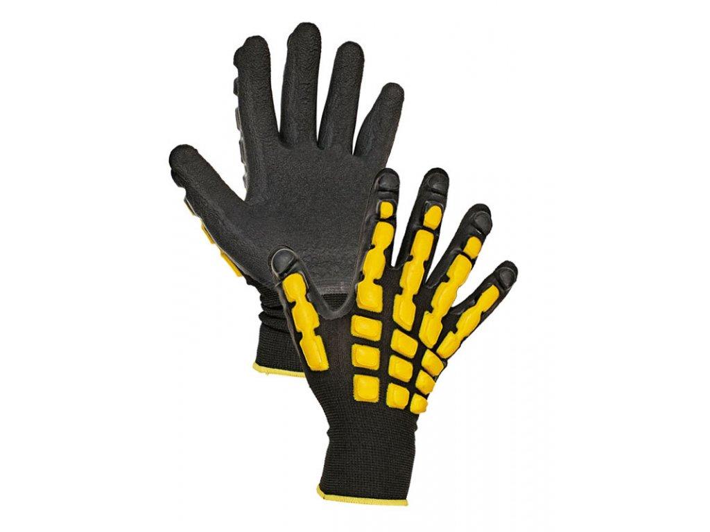 Pracovní rukavice pletené bezešvé polyesterové polomáčené v latexu ACCENTOR černá-žlutá