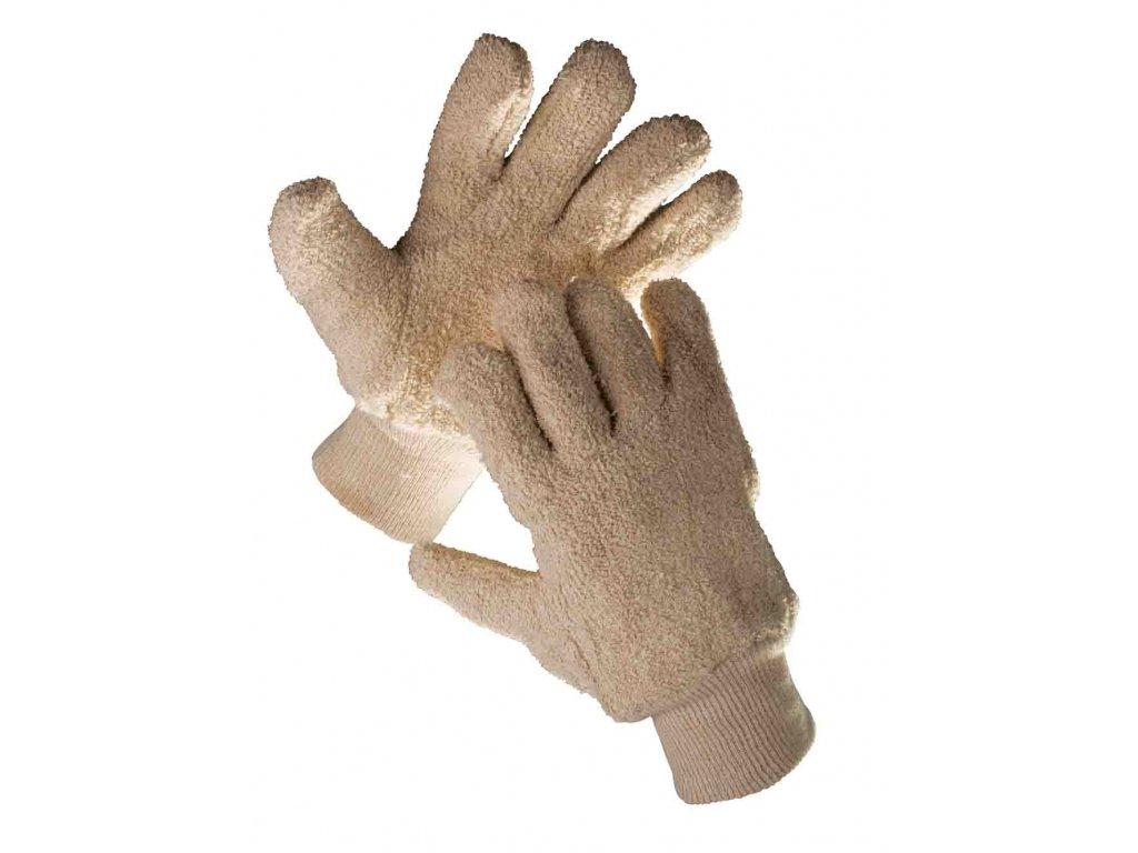 Pracovní rukavice froté bavlna DUNLIN béžová