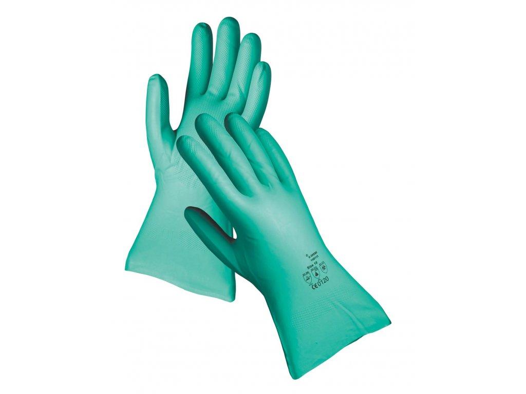 Pracovní rukavice ze silného nitrilu GREBE 33 cm zelená