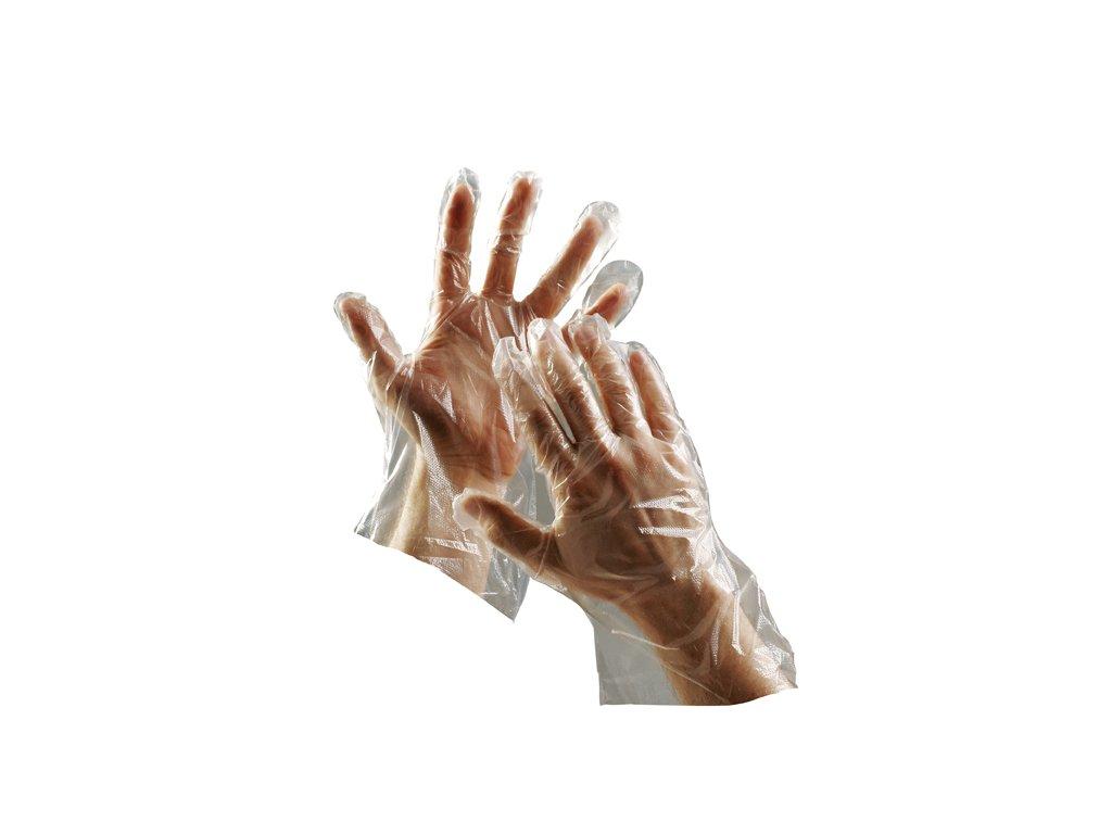 Pracovní rukavice jednorázové polyetylénové DUCK průsvitná