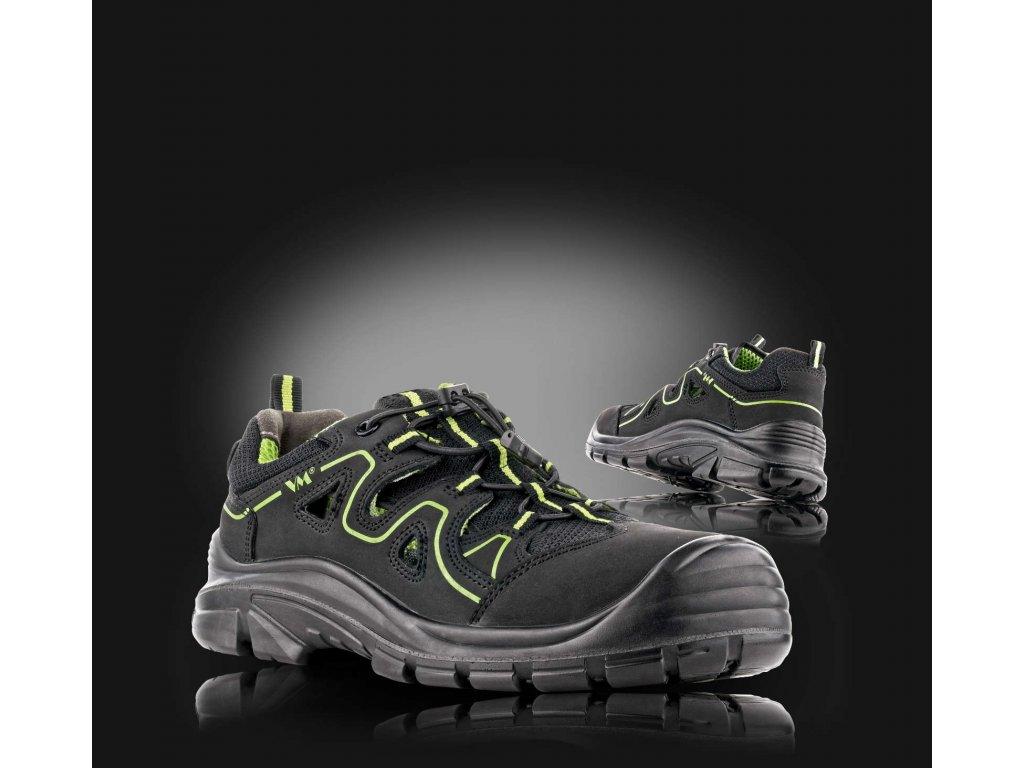 Sandál bezpečnostní KANSAS kožený v kombinaci s textilem, non METALIC
