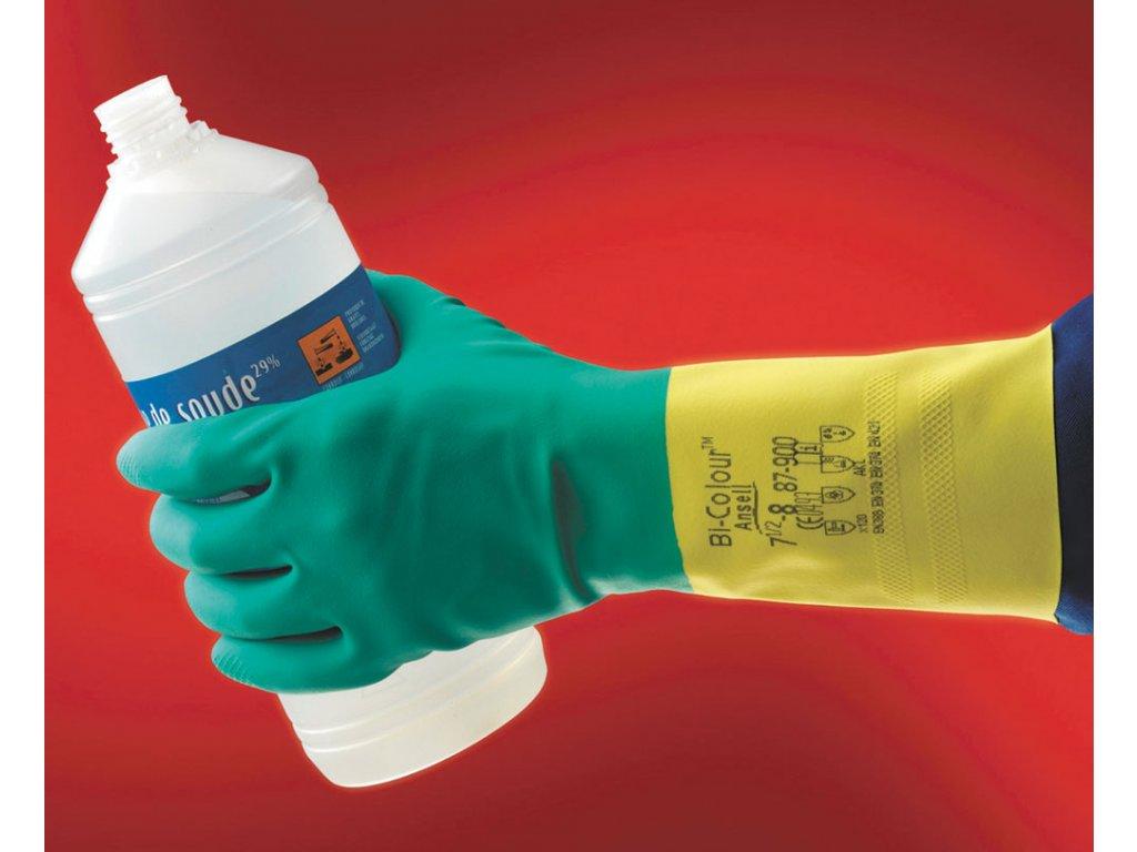 Pracovní rukavice chemické BI-COLOUR ANSELL