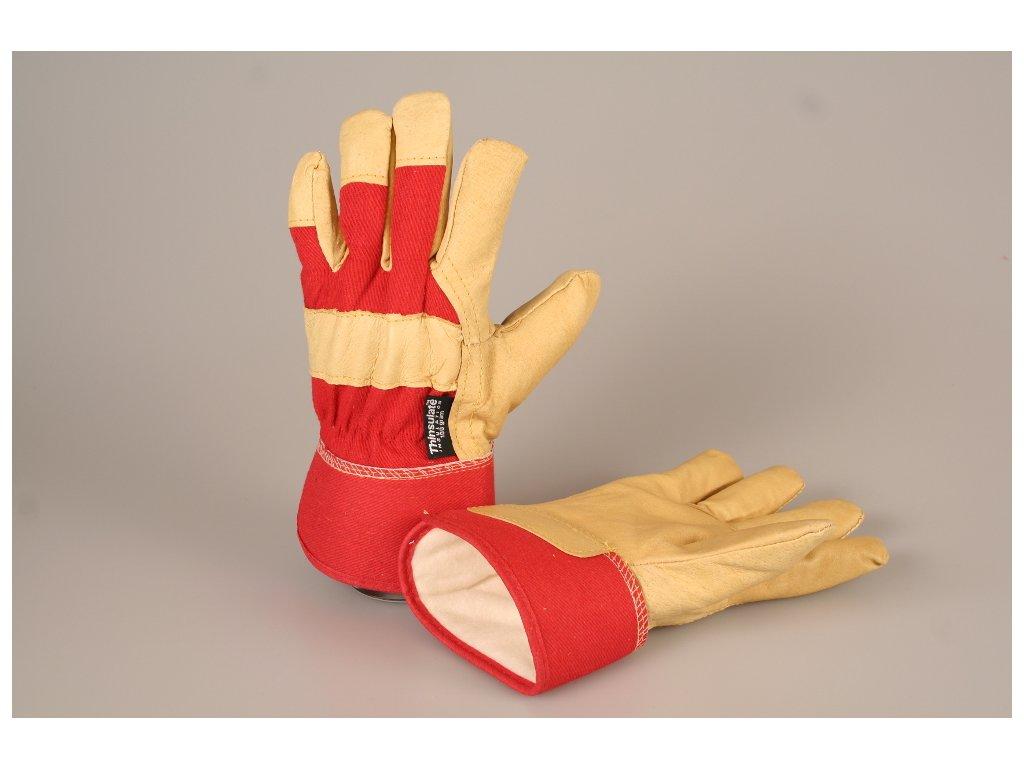 Pracovní rukavice kombinované teplé ROSE FINCH červené dámské