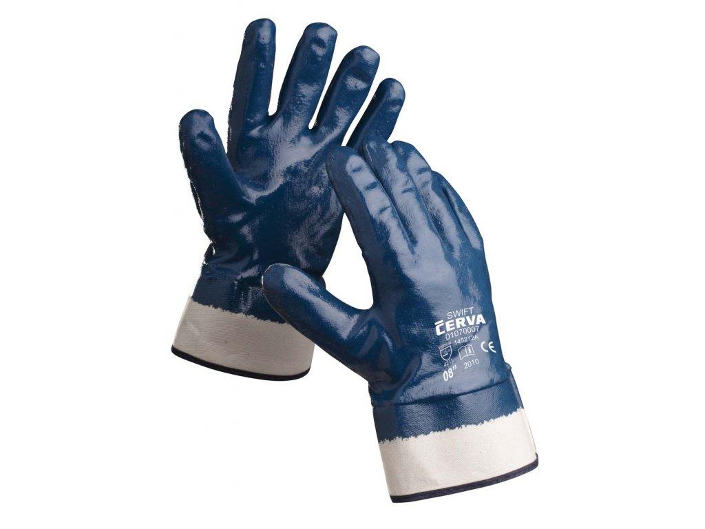 Pracovní rukavice šité máčené v nitrilu SWIFT