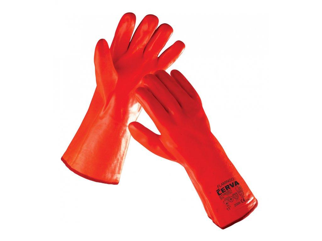 Pracovní rukavice šité máčené v PVC zateplené FLAMINGO