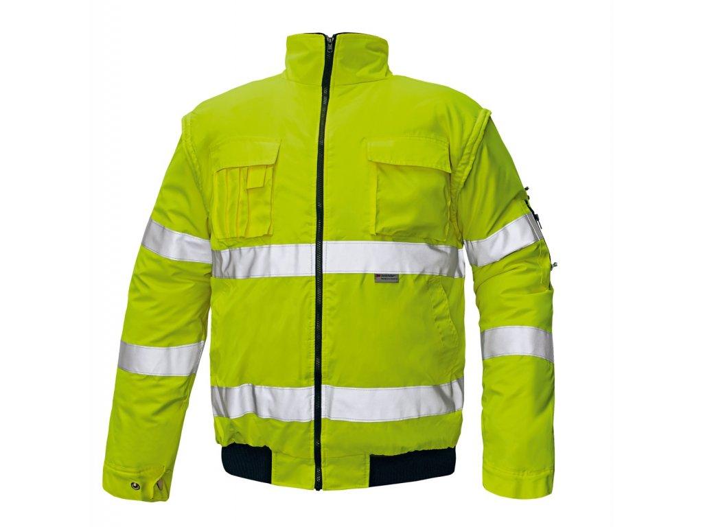 Reflexní bunda zateplená nepromokavá CLOVELLY PILOT 2 v 1 žlutá