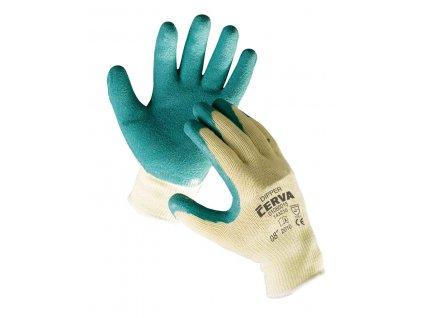Pracovní rukavice pletené bezešvé nylonové polomáčené v latexu DIPPER žlutá-zelená