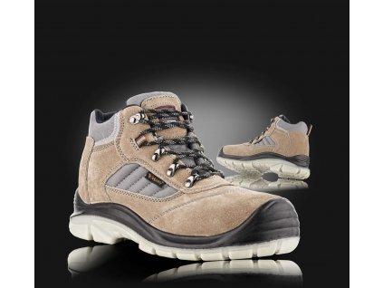 Kotníková bezpečnostní obuv LISABON kožená v kombinaci s textilem