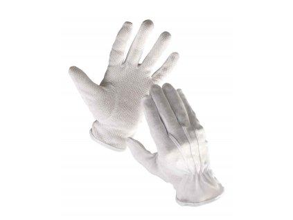 Pracovní rukavice textilní šité povrstvené s PVC terčíky BUSTARD bílá