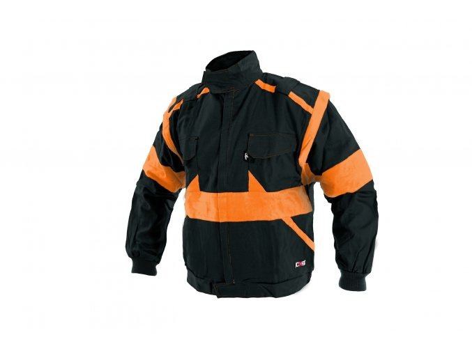 Montérková bunda LUX EDA černo-oranžová