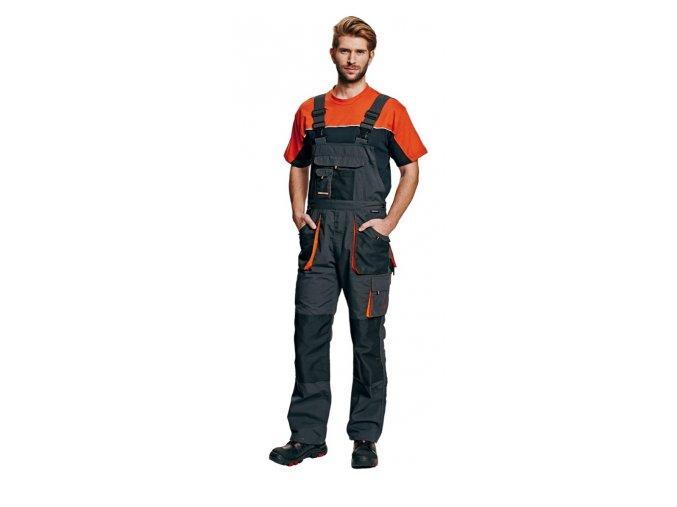 Montérkové kalhoty s laclem EMERTON černá/oranžová