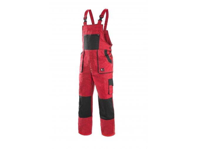 Montérkové kalhoty s laclem EMIL LUX na výšku 194 cm červeno-černé