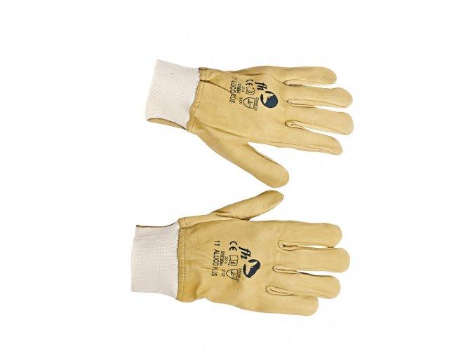 Pracovní rukavice šité celokožené ALUCO PLUS žlutá-bílá