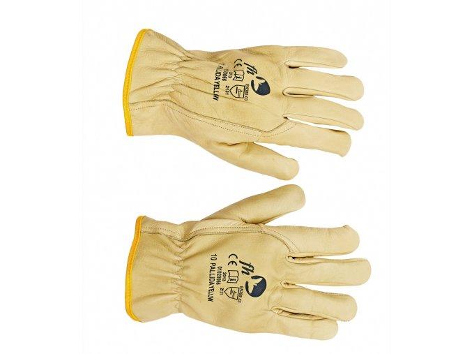 Pracovní rukavice šité celokožené PALLIDA YELLOW žlutá